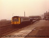Class 121 Bubble Car number W55025 or set number P125 stabled at Penzance in fog.  1984.