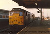Class 31 Diesel Locomotive number 31 173 passes Reading with an engineers working.<br /> 12th December 1987
