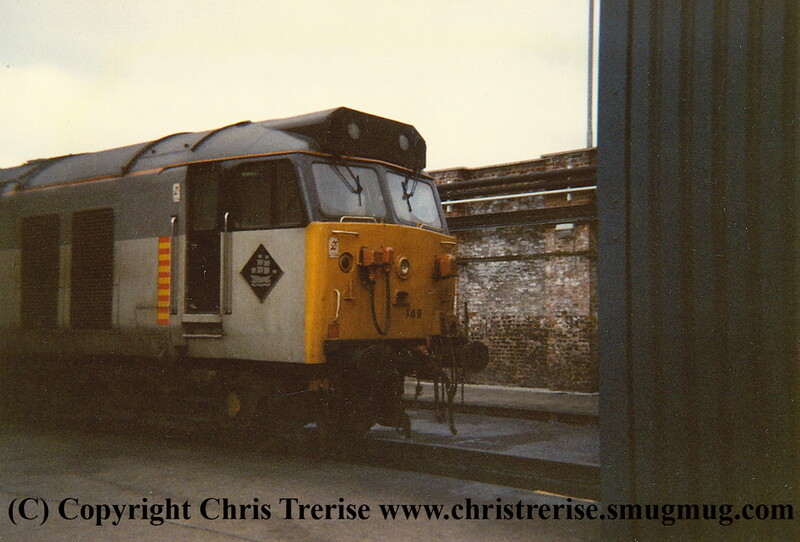 "Class 50 Diesel Locomotive number 50 149 named ""Defiance"" at Exeter Depot.<br /> 20th November 1987."
