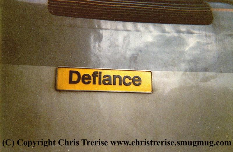 "Class 50 Diesel Locomotive number 50 149 named ""Defiance"" at Exeter Depot.<br /> 20th November 1987."