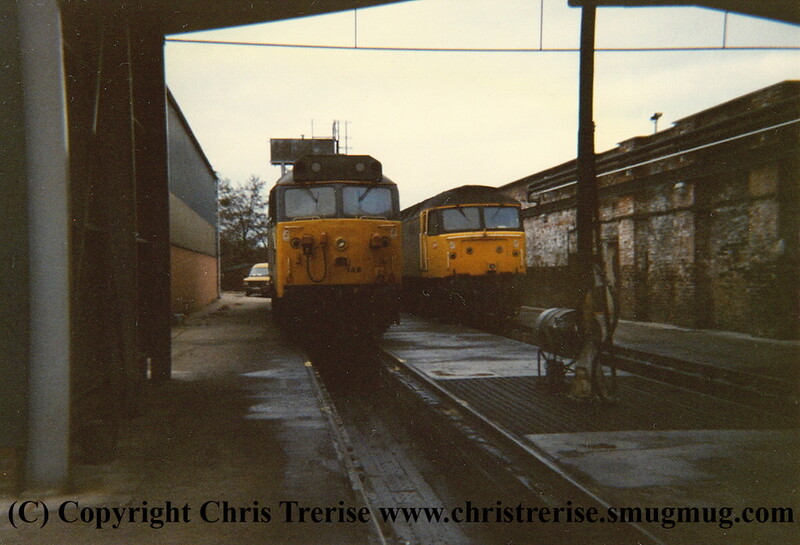 "Class 50 Diesel Locomotive number 50 149 named ""Defiance"" at Exeter Depot.  I never recorded the identity of the duff.<br /> 20th November 1987."