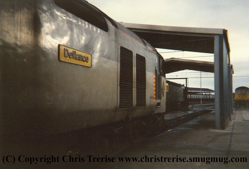 "Class 50 Diesel Locomotive number 50 149 named ""Defiance"" at Exeter Depot.  I cannot believe I did not record which the Class 33s were or even photograph them.<br /> 20th November 1987."