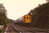 Class 414 2-HAP EMU number 4318 passes Grayswood with an ECS from London Waterloo to Haslemere.<br /> 5th October 1988