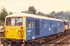 """Class 73/0 Electro-Diesel Locomotive number 73 005 named """"Mid Hants Watercress Line"""" at Winchfield.<br /> 25th September 1988"""