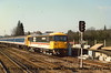 """Class 73 Electro-Diesel Locomotive number 73 131 arrives at Haslemere.  The nameplates """"County of Surrey"""" are covered in readiness for the naming ceremony.<br /> 4th March 1988"""