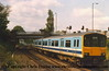 Class 150/1 2 Car DMU number 150 138 passes Wellowgate with the 1010 Birmingham New Street to Cleethorpes.<br /> 13th May 1989