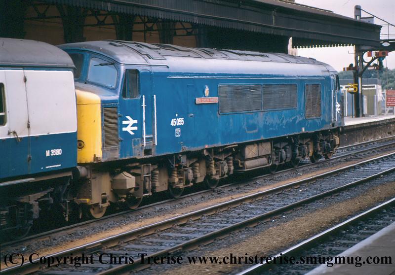 "Class 45 Diesel Locomotive number 45 055 named ""Royal Corps of Transport"" at Exeter St Davids.<br /> 9th October 1981"