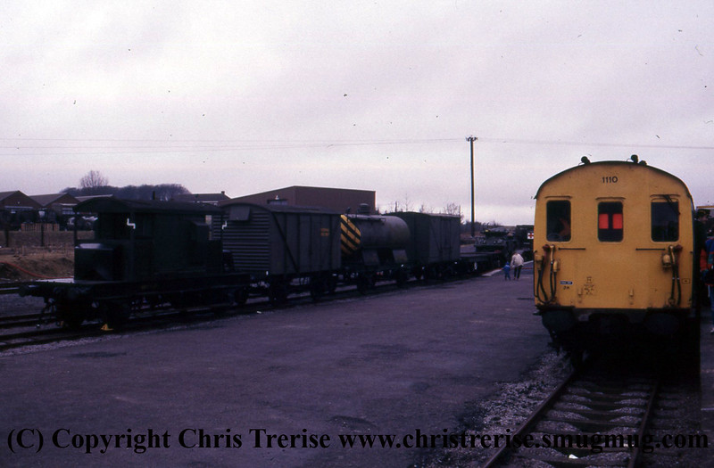 "Class 205 3 Car Thumper DEMU number 1110 at Ludgershall in connection with events celebrating ""Southern 150"".<br />  22nd March 1986"