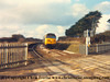 "Class 50 Diesel Locomotive number 50 046 named ""Ajax"" passes Gwinear Road with the 1210 Penzance to Glasgow Parcels.<br /> 12th February 1987"