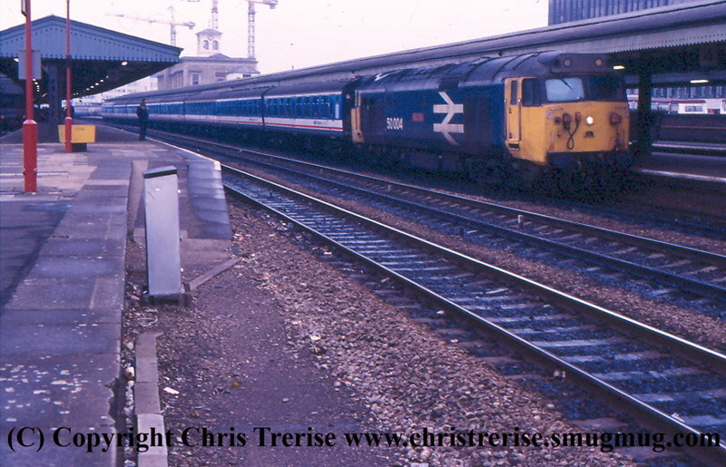 "Class 50 Diesel Locomotive number 50 004 named ""St Vincent"" at Reading.<br /> February 1987"