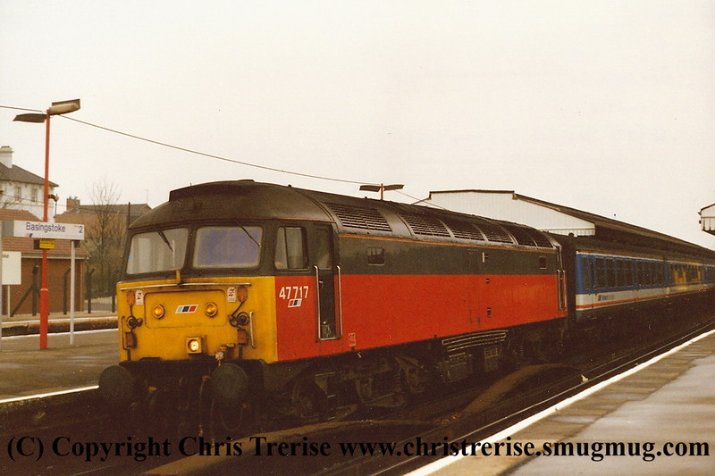 Class 47 Diesel Locomotive number 47 717 at Basingstoke with the 0745 Basingstoke to Exeter St Davids.<br /> 6th March 1993