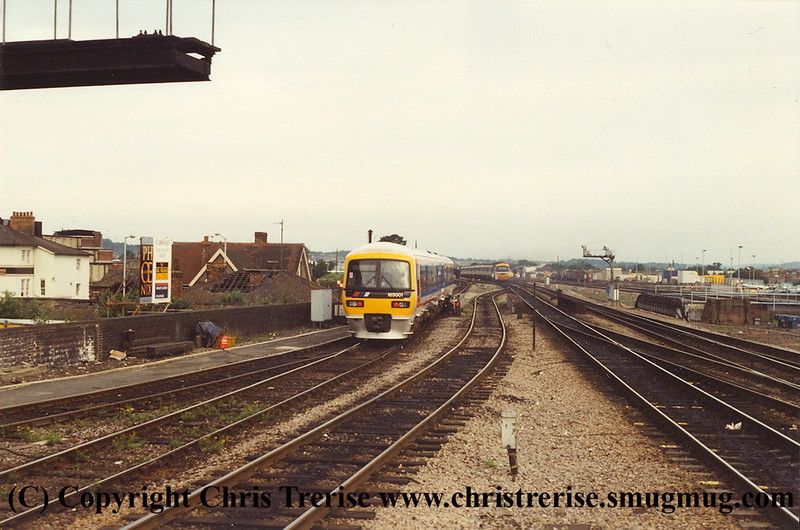 Class 165 DMU number 165 001 departs Reading with the 0750 to Basingstoke.<br /> 19th June 1993