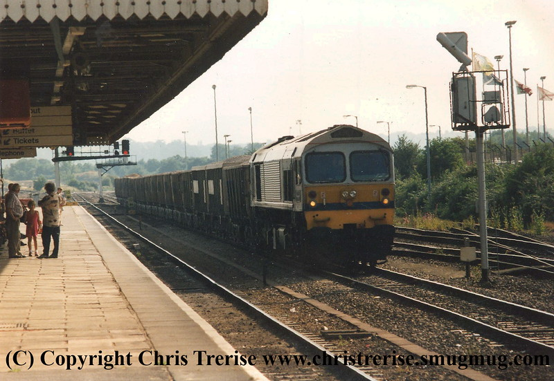 Class 59 Diesel Locomotive at Westbury.  I somehow failed to record the number or date.<br /> 1995
