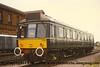 Class 121 Single Car DMU number 55023, set number L123, at Bedford.<br /> 12th October 1996