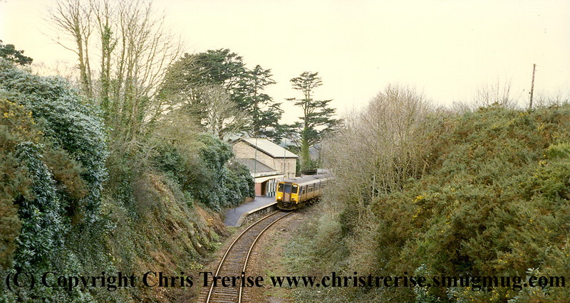Class 150 2 Car Sprinter DMU number 150 249 at Perranwell with the 1440 Falmouth to Truro.<br /> 7th January 1998