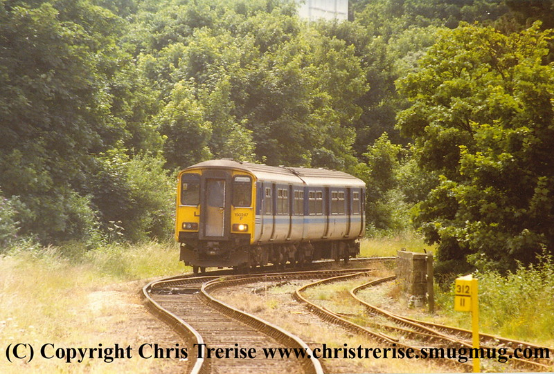 Class 150 2 Car Sprinter DMU number 150 247 approaches Falmouth Docks with the 1412 from Truro.<br /> 2nd July 1998