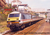 Mk3 DVT number 82113 passes Dawlish at the rear of a Cross Country service.<br /> 18th August 1998