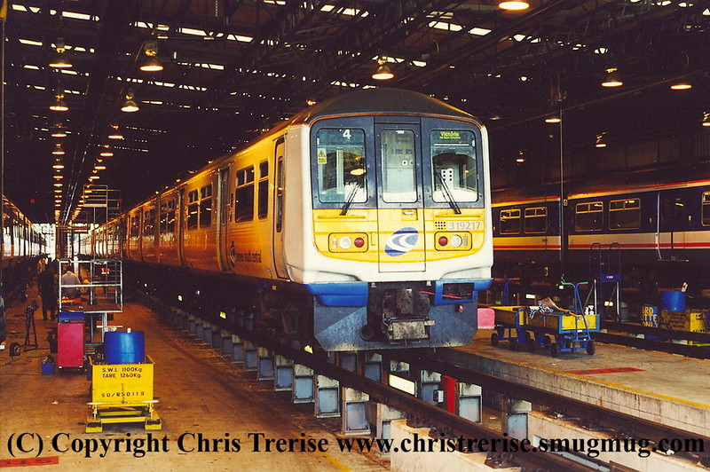 Class 319/2 4 Car EMU Set number 319 217 at Selhurst Depot.<br /> 5th October 2001