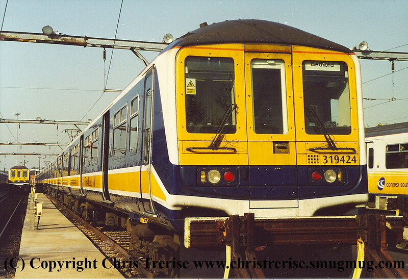 Class 319 4 Car EMU number 319 424 at Bedford Carriage Sidings.<br /> October 2001