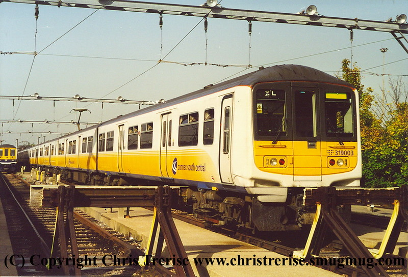Class 319 4 Car EMU number 319 003 at Bedford Carriage Sidings.<br /> October 2001
