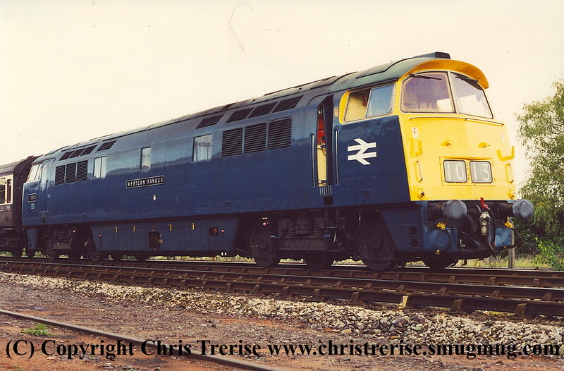 "Class 52 Western Diesel Hydraulic locomotive number D1013 named ""Western Ranger"" at Kidderminster.<br /> 14th September 2001"