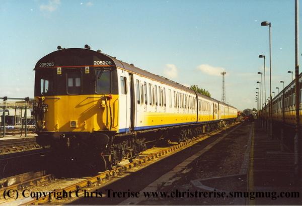 Class 205 2 Car DEMU number 205 205 at Selhurst Depot.<br /> 5th October 2001