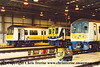 Class 319 EMUs lined up at Selhurst Depot.  319 011, 319 369 and 319 217.<br /> 5th October 2001