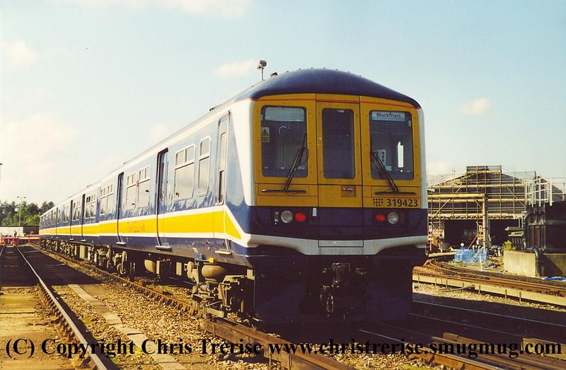 Class 319 4 Car EMU number 319 423 at Selhurst Depot.<br /> 5th October 2001