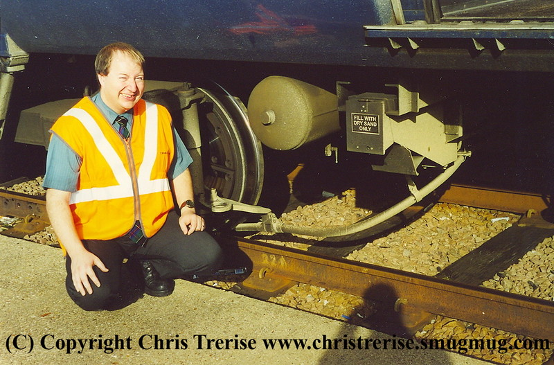 Class 319 with newly installed sanding equipment.  This was the last project I carried out at Thameslink.  Richard Dean is taking the picture and it is his shadow on the track!<br /> October 2001