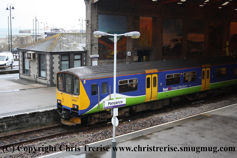 Class 150 2 Car Sprinter DMU number 150 127 at Penzance having arrived with the 1755 from Plymouth.<br /> 14th July 2009