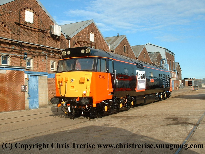 "Class 50 Diesel Locomotive number 50 135 named ""Ark Royal"" at Eastleigh Works.<br /> 22nd May 2009"