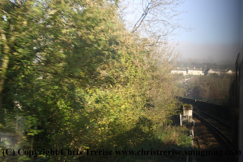 Class 150 2 Car Sprinter DMU number 150 261 crosses Calstock Viaduct.<br /> 9th November 2009