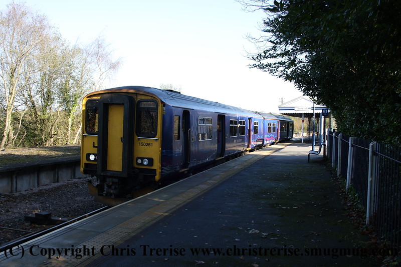 Class 150 2 Car Sprinter DMU number 150 261 at Bere Alston with a Gunnislake to Plymouth service.<br /> 9th November 2009