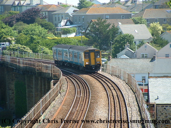 Class 150 2 Car DMU number 150 229 departs Hayle with the 0815 Exeter St Davids to Penzance.<br /> 10th June 2008
