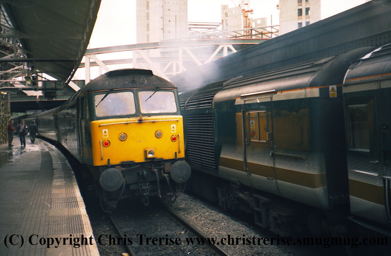 "Class 47 Diesel Locomotive number 47 816 named ""Bristol Bath Road Quality Approved"" departs London Paddington at the rear with 47 762 at the front.<br /> 9th June 2001"