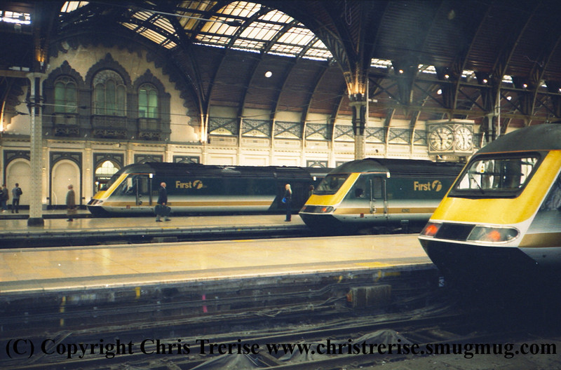 Class 43 HST Power Cars at London Paddington.  Left to right 43 139, 43 143 and unidentified.<br /> 9th June 2001