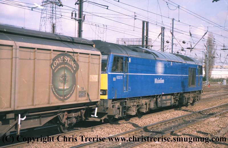 Class 60 Diesel Locomotive number 60 078 at Stratford.<br /> 9th June 2001
