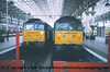 Class 47 Diesel Locomotive number 47 839 at Manchester Piccadilly. The Class 47 on the left is unidentified.<br /> 16th April 2001