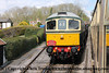 Class 33 Diesel Locomotive number D6575 arrives at Bishops Lydeard with a driver experience goods train from Minehead.<br /> 27th April 2013