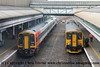 Class 150/2 2 Car Sprinter DMU Set number 150 239 at Exeter St Davids with 2B74 0953 Exmouth to Barnstaple.  Alongside Class 159/1 3 Car Sprinter DMU Set number 159 102 awaits departure with 1L40 1026 Exeter St Davids to Woking.<br /> 24th August 2017