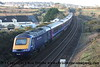 Class 43 HST Power Car number 43 094 (complete with dead bird!) with 43 092 at the rear passes North Crofty Junction with 1C40 0702 Plymouth to Penzance.<br /> 20th February 2018