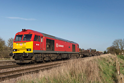 DBS Class 60044 Dowlow heads to Barnetby with empty bogie bolster wagons