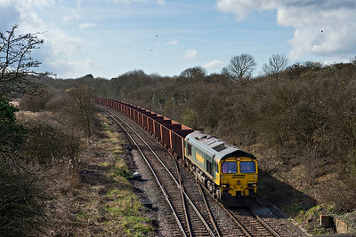 Freightliner Class 66604 approaches Humberside Refinery Junc with empty ore for Immingham