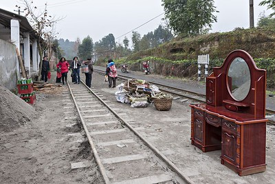 Goods awaiting the train at Xiaorenjiang Sta