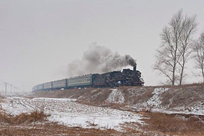No steam-heat passenger on a snowy Faku Branch