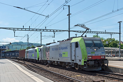 Double Headed BLS Class 486 Dispolok on southbound freight at Olten