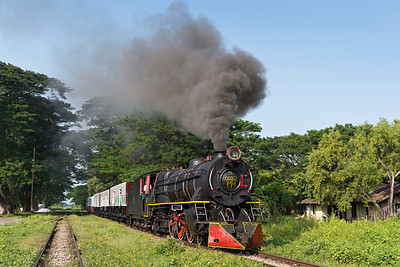 Class YC  4-6-2 No 629 leaves Pa Ya Gyi with a passenger train for Bago