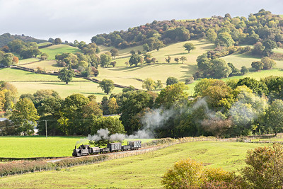 The Earl #822 in the country near Cyfronydd Sta with a Llanfair bound freight