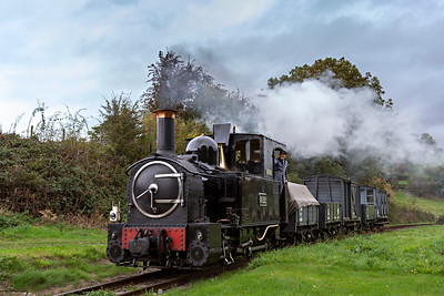 The Earl #822 brings a Llanfair bound freight into Heniarth Station
