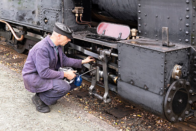 The Earl #822 gets an oil check at Cyfronydd Station